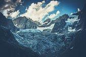 Scenic Mountain Glacier. Italian Alps. Part of Mont Blanc Mountain Range. Raw Alpine Scenery