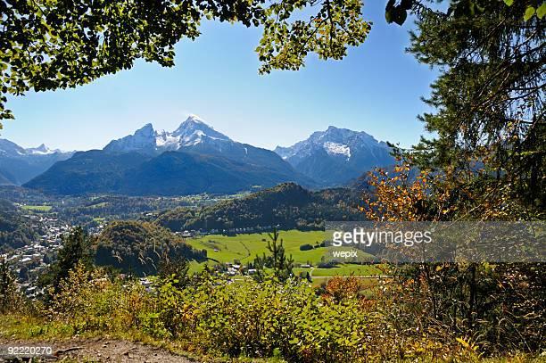 Scenic mountain valley town snowcapped mountain peak