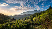 Scenic mountain view with mood sunrise at summer morning in Tatra National park, Poland