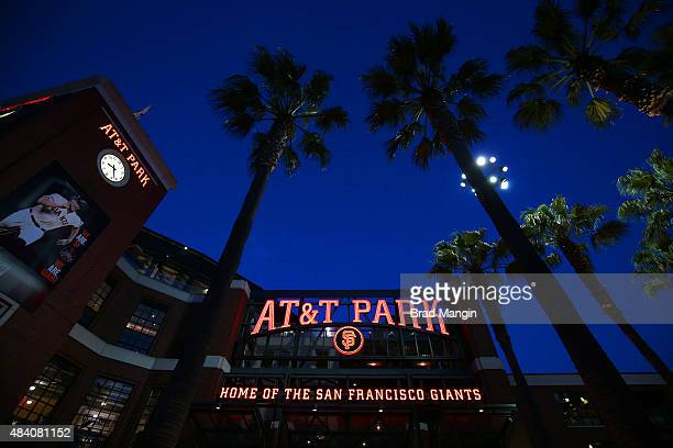 Scenic nighttime exterior general view of ATT Park during the game between the Washington Nationals and San Francisco Giants on Friday August 14 2015...