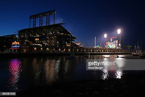 Scenic nighttime exterior general view of ATT Park showing boats in McCovey Cove during the game between the Washington Nationals and San Francisco...