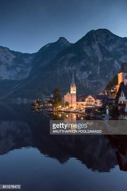 Scenic of Hallstatt lake and Hallstatt village on Twilight time postcard view point , European Alps , Austria Alps , Upper Austria