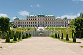 Belvedere Palace Vienna, historic building and landmark with garden and cascades