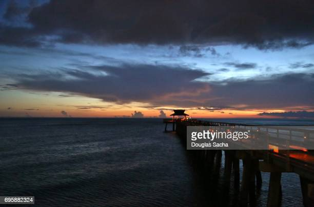 Scenic pier over the ocean, Naples City Pier, Naples, Florida, USA