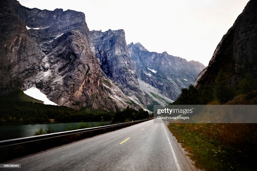Scenic Road Through Mountains, Romsdal, Norway
