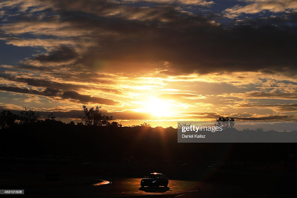 Scenic sunset action during race 25 for the Ipswich 400, which is round eight of the V8 Supercar Championship Series at Queensland Raceway on August 3, 2014 in Ipswich, Australia.