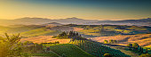Scenic Tuscany landscape panorama with rolling hills and harvest fields in golden morning light, Val d'Orcia, Italy.