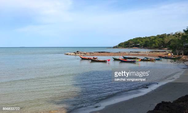 Scenic View Boats Moored On Sea Against Sky at Rayong, Thailand