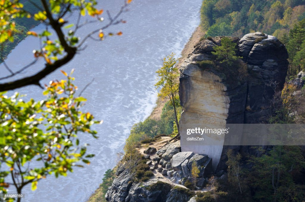 Scenic view from Bastei lookout with sandstone pillars and Elbe river, taken in late October,  Saxon Switzerland National Park, Saxony, Germany, Europe. : Stock Photo