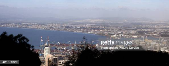 Scenic view from Mount Carmel overlooking the Port of Haifa Israel