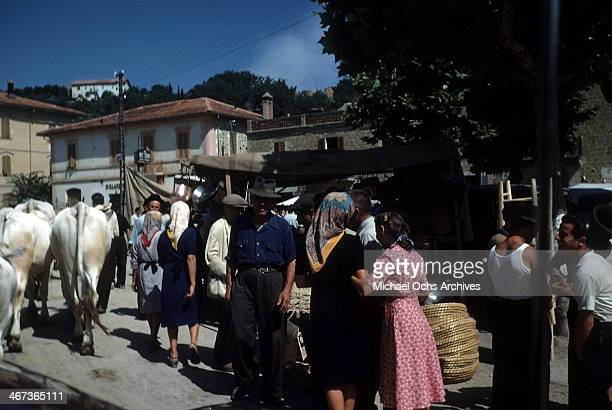 A scenic view of a market place on the way to Perugia from AssisiItaly