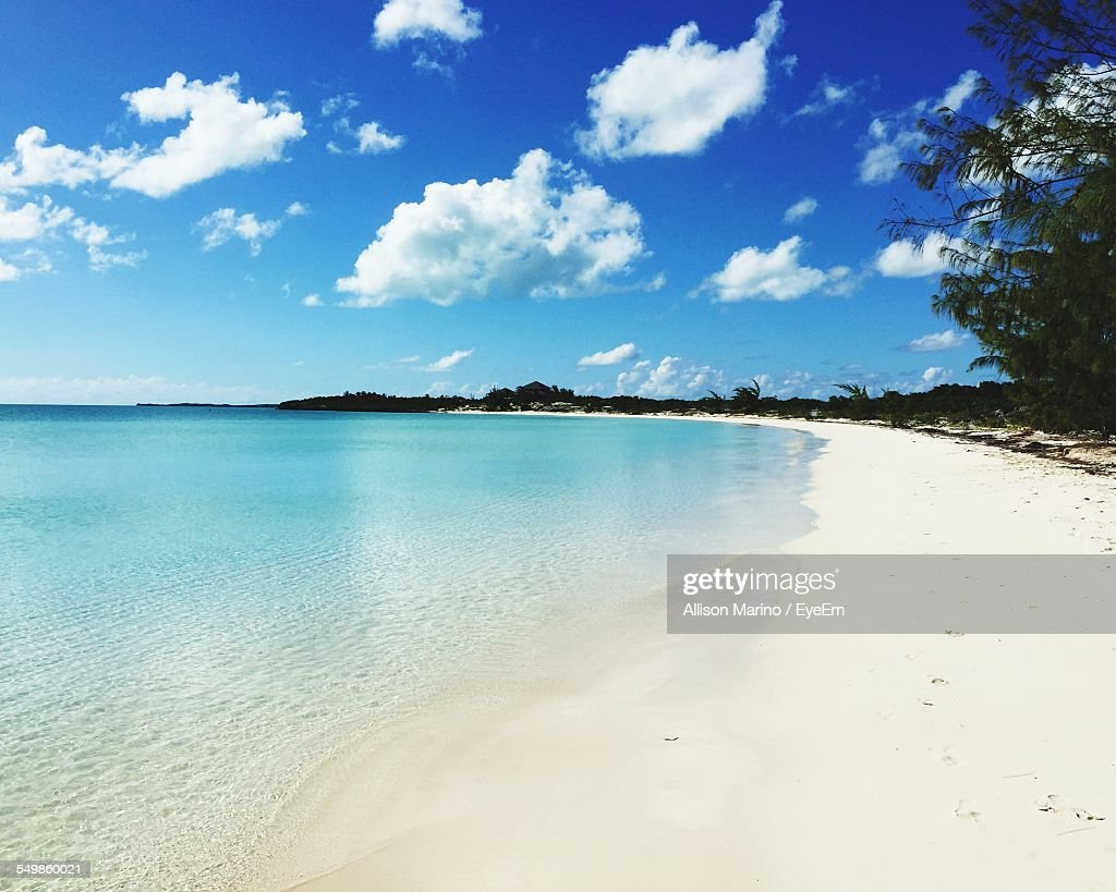 Scenic View Of A Tropical White Sand Beach