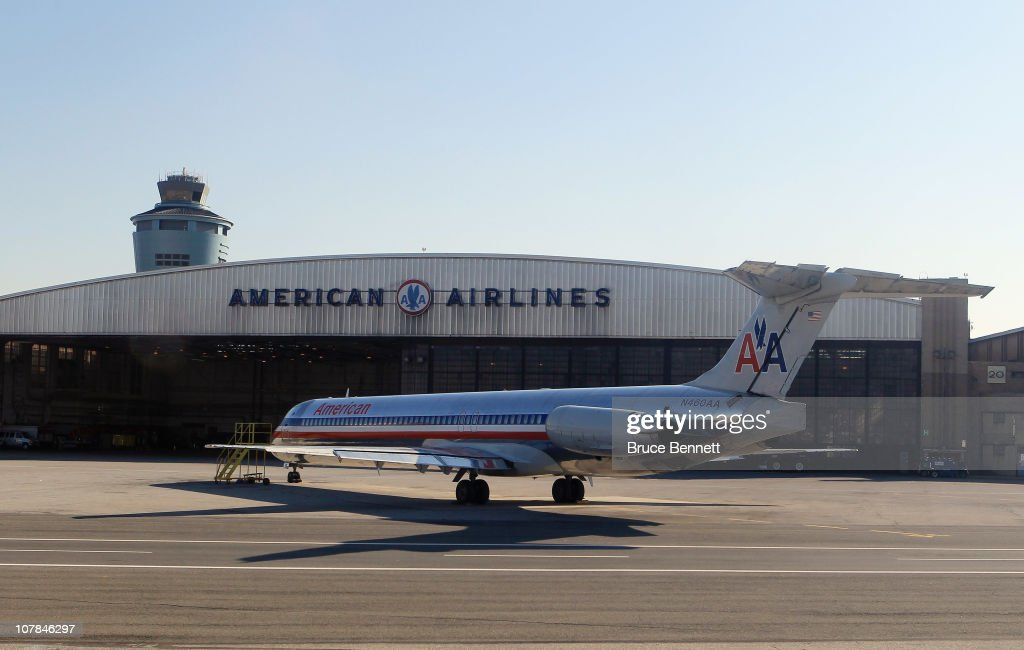 A scenic view of American Airlines hangers at Laguardia Airport photographed from an airplane on December 8 2010 in New York City