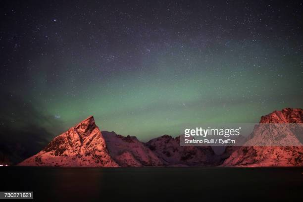 Scenic View Of Aurora Borealis Over Mountains