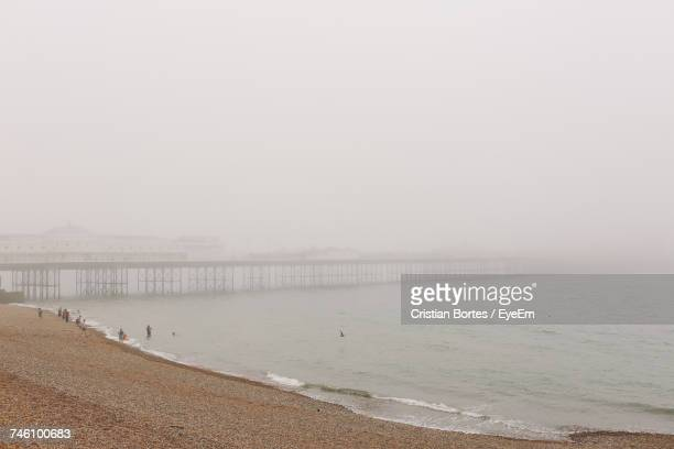 Scenic View Of Beach In Foggy Weather