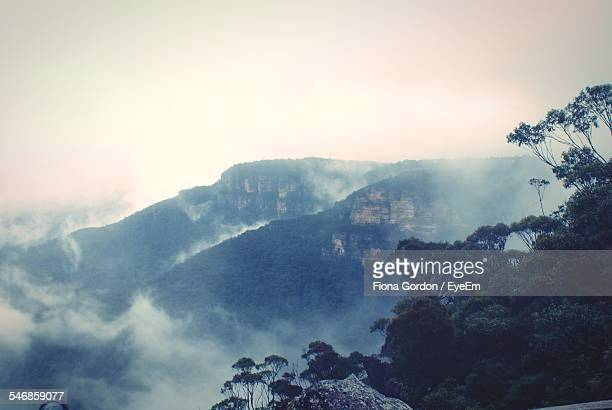 Scenic View Of Blue Mountains In Foggy Weather Against Clear Sky