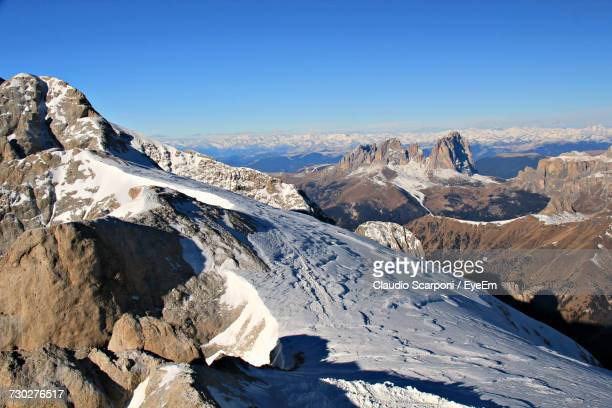 Scenic View Of Dolomites Mountains Against Clear Blue Sky