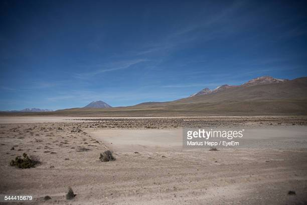 Scenic View Of Dry Field Against Blue Sky