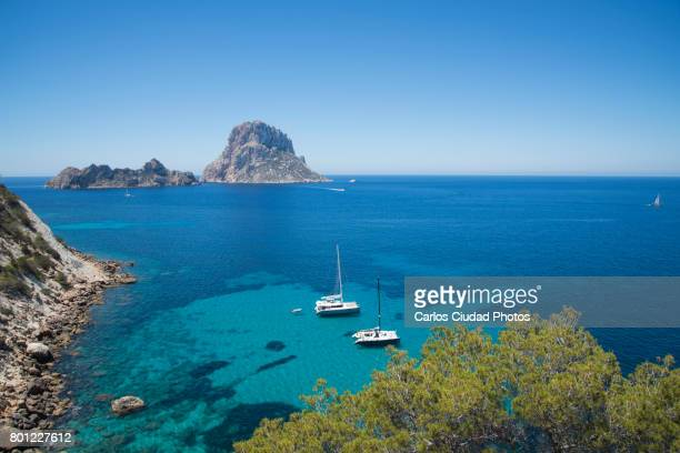 Scenic view of Es Vedra islet from Cala d´Hort beach, Ibiza, Spain