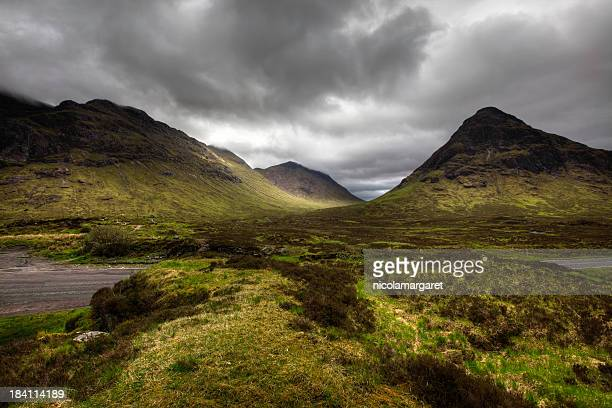 Scenic view of Glencoe Pass, Scotland on a dreary day
