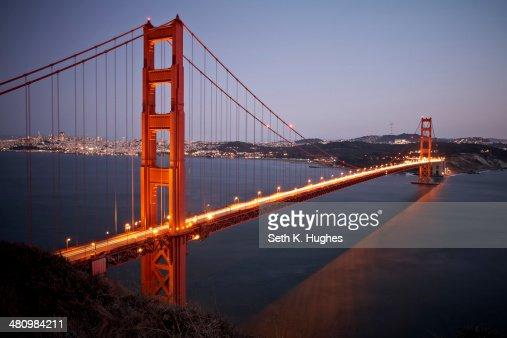 Scenic view of Golden Gate Bridge at dusk, San Francisco, California, USA