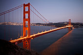 Scenic view of Golden Gate Bridge at dusk, San Francisco, California, USA