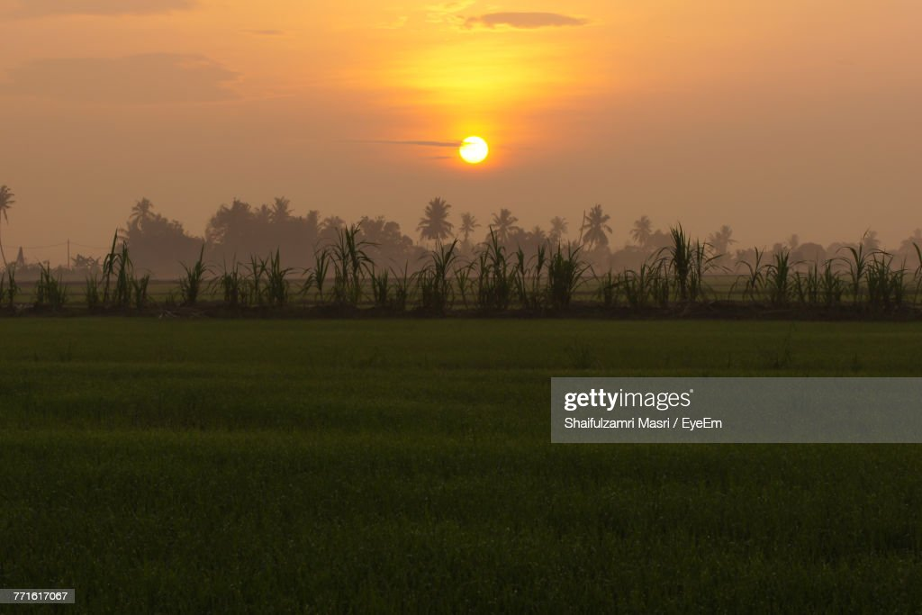 Scenic View Of Landscape Against Sky During Sunset : Stock Photo
