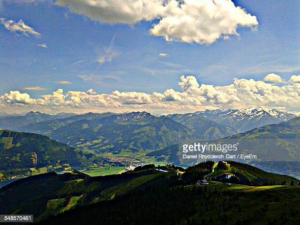 Scenic View Of Majestic Mountains Against Blue Sky