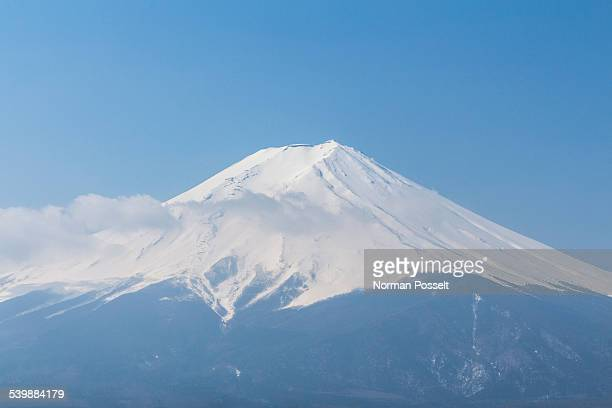 Scenic view of Mount Fuji against clear blue sky