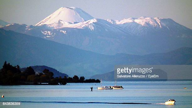 Scenic View Of Mount Tauhara And Lake Taupo