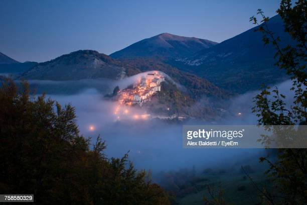 Scenic View Of Mountains Against Sky In Foggy Weather At Abruzzo National Park