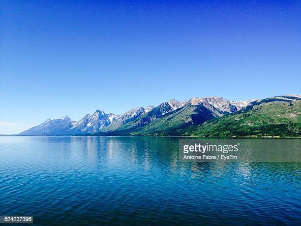 Scenic View of Mountains And Lake Against Clear Sky