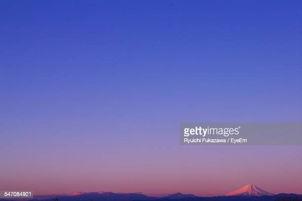 Scenic View Of Mt Fuji Against Clear Sky In Morning