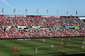 A scenic view of play during the round 12 ALeague match between Adelaide United and the Newcastle Jets at Coopers Stadium on December 29 2013 in...
