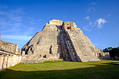 Scenic view of prehistoric Mayan pyramid in Uxmal, Mexico