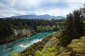 Scenic view of river, forest and mountains, New Zealand