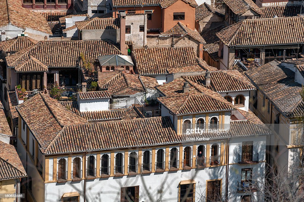 Scenic view of rooftops Albaicin, Granada : Stock Photo