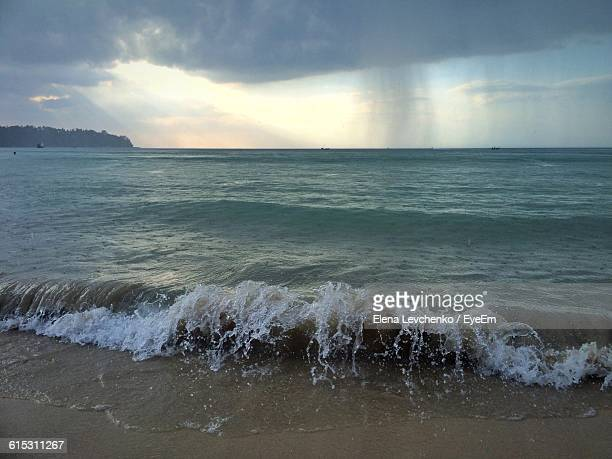 Scenic View Of Sea Against Cloudy Sky During Monsoon