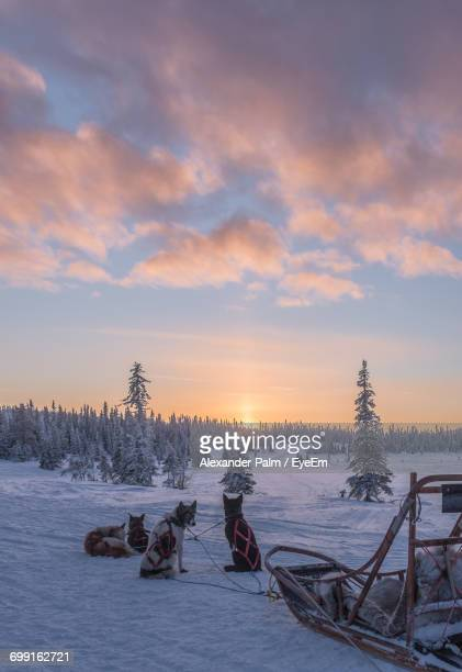 Scenic View Of Snow Against Sky During Sunset