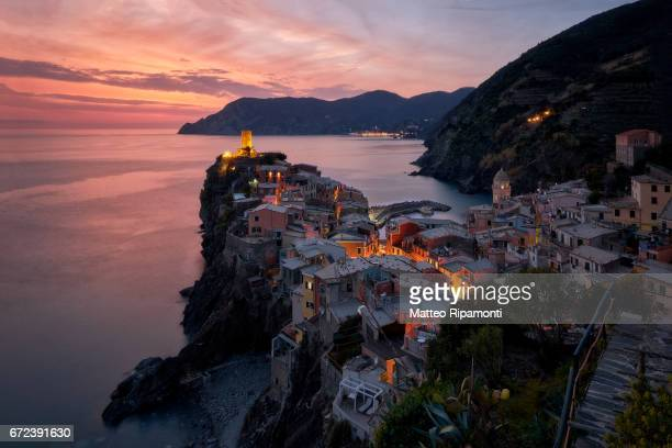 Scenic View Of Sunset Over Sea at Vernazza, Italy, Liguria, Cinque Terre