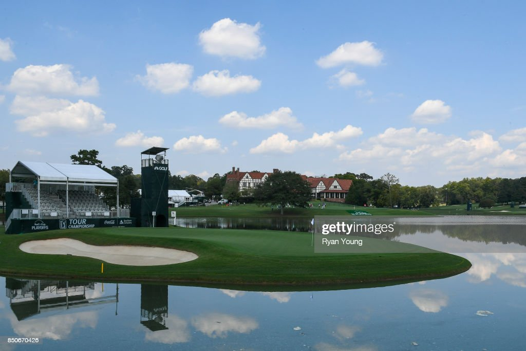 Scenic view of the 15th hole during practice for the TOUR Championship, the final event of the FedExCup Playoffs, at East Lake Golf Club on September 19, 2017 in Atlanta, Georgia.