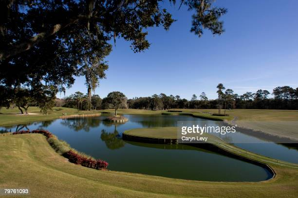 A scenic view of the 17th green on THE PLAYERS Stadium Course at TPC Sawgrass Ponte Vedra Beach Florida