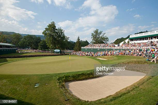 A scenic view of the 18th green during the final round of The Greenbrier Classic at The Old White TPC on July 31 2011 in White Sulphur Springs West...