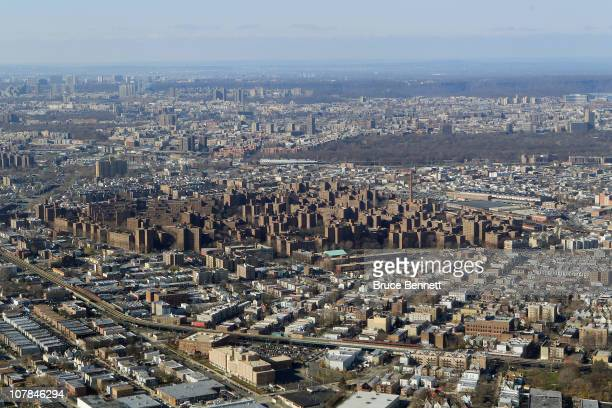 A scenic view of the Bronx photographed from an airplane on December 8 2010 in New York City