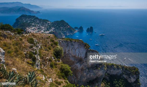 Scenic view of the Faraglioni rock formations on the south side of Capri, Italy
