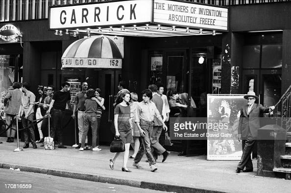 Scenic view of the Garrick Theatre and its marquee in June 1967 at 152 Bleecker Street between MacDougal Street and Broadway in Greenwich Village New...