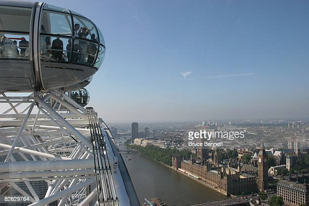 A scenic view of the London Eye and the Houses of Parliament photographed on August 18 2007 in London England