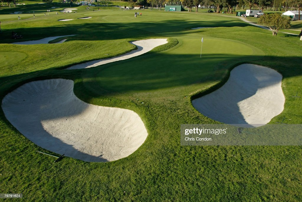 A scenic view of the wellprotected 10th green during the second round of the Northern Trust Open held on February 15 2008 at Riviera Country Club in...