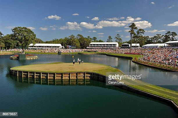 A scenic view of Tiger on the 17th green during the third round of THE PLAYERS Championship on THE PLAYERS Stadium Course at TPC Sawgrass held on May...