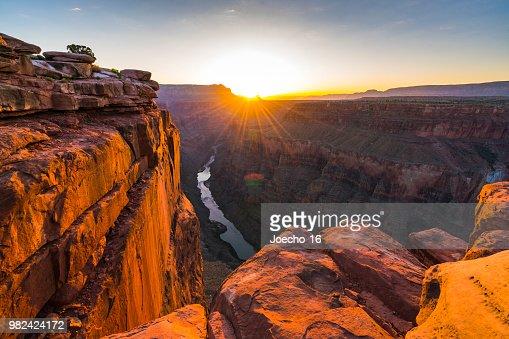 scenic view of Toroweap overlook at sunrise  in north rim, grand canyon national park,Arizona,usa. : Stock Photo